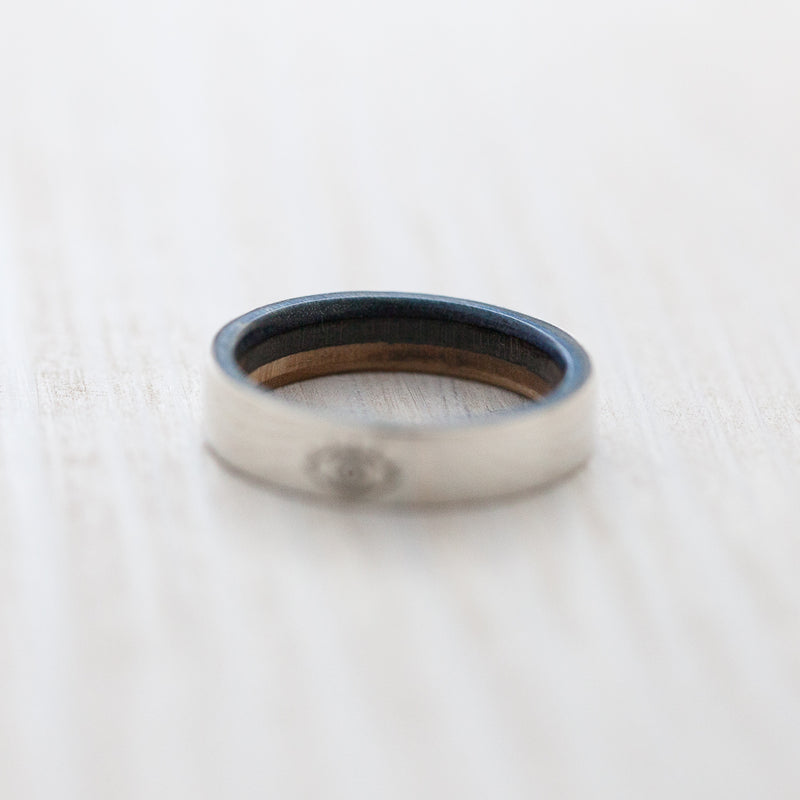 BoardThing Eye engraving on silver & wooden skateboard ring - BoardThing