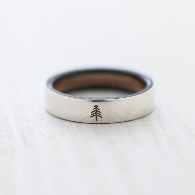 Tree engraving on silver & wooden skateboard ring - BoardThing