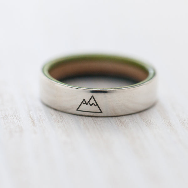 Mountain engraving on silver & wooden skateboard ring - BoardThing