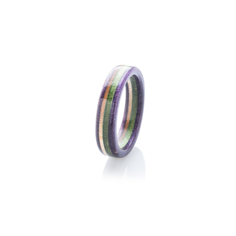Violet - wooden - green - violet recycled skateboard ring - BoardThing