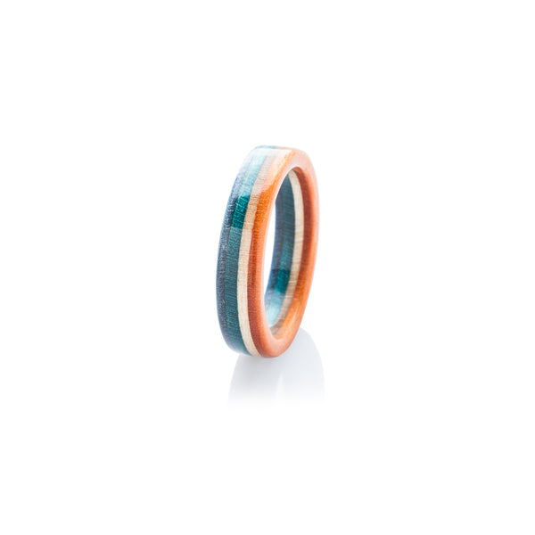 Skateboard ring - blue - wooden - orange | Boardthing - BoardThing