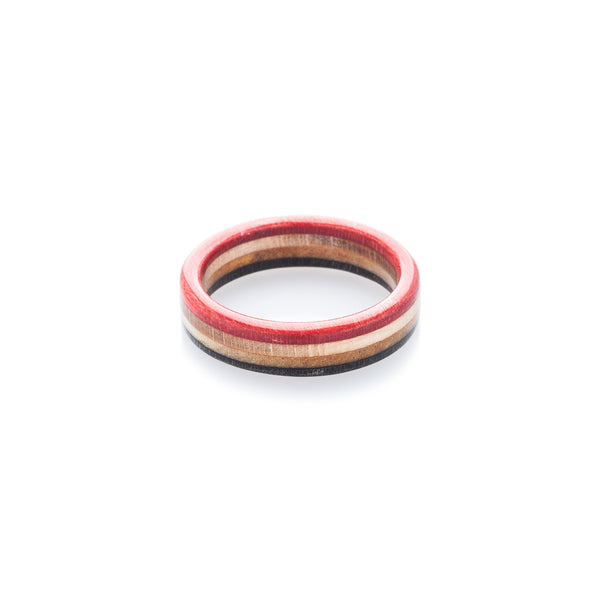 Red - wooden - black recycled skateboard ring - BoardThing