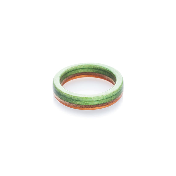 Orange - wooden - green recycled skateboard ring - BoardThing