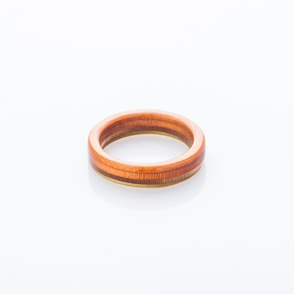 Wooden - orange recycled skateboard ring - BoardThing