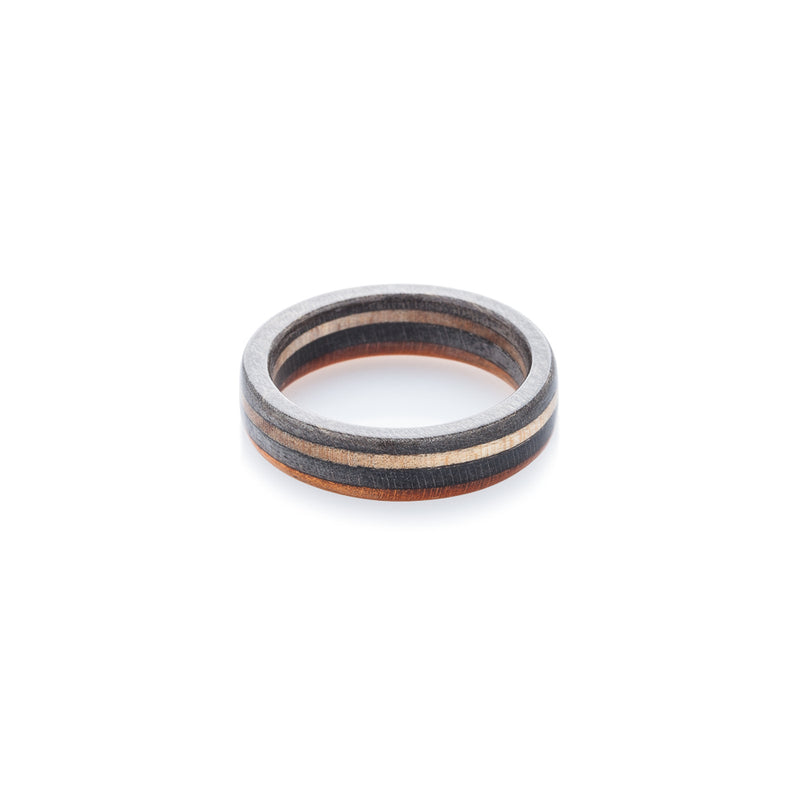Skateboard ring - wooden - black - orange fully recycled - BoardThing