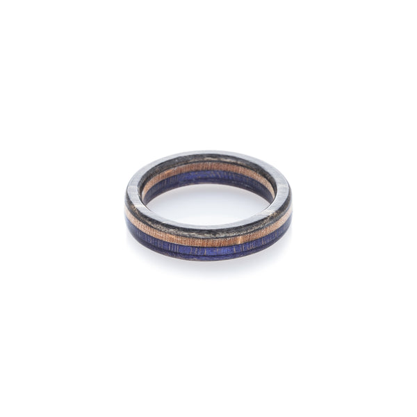 Black - wooden - violet recycled skateboard ring - BoardThing