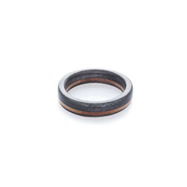 Black - wooden - black recycled skateboard ring - BoardThing
