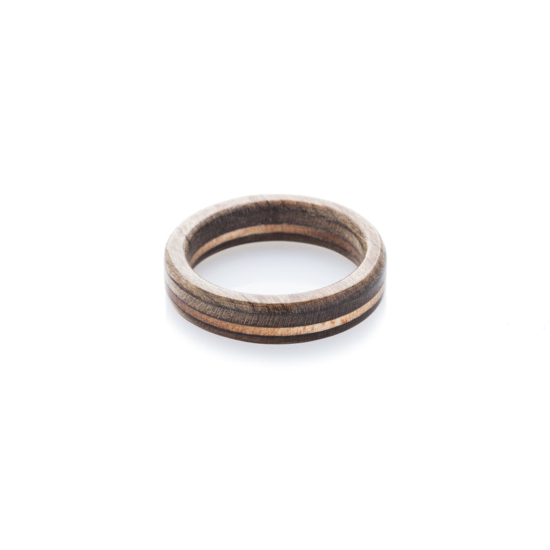 Brown - wooden - brown recycled skateboard ring - BoardThing