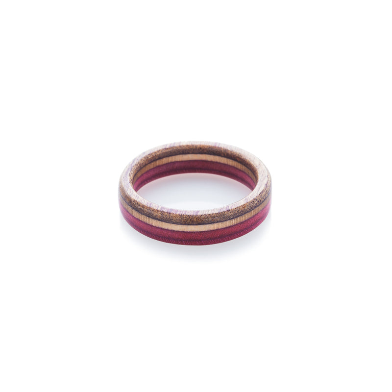 Pink - wooden - brown recycled skateboard ring - BoardThing