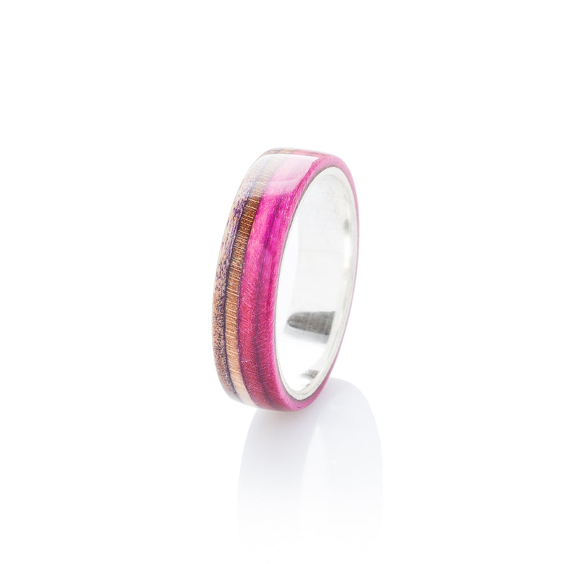 Pink - brown wood and silver skateboard ring - BoardThing