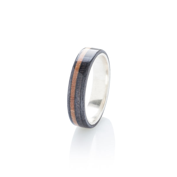 BoardThing Black - Brown wood & silver skateboard ring - BoardThing
