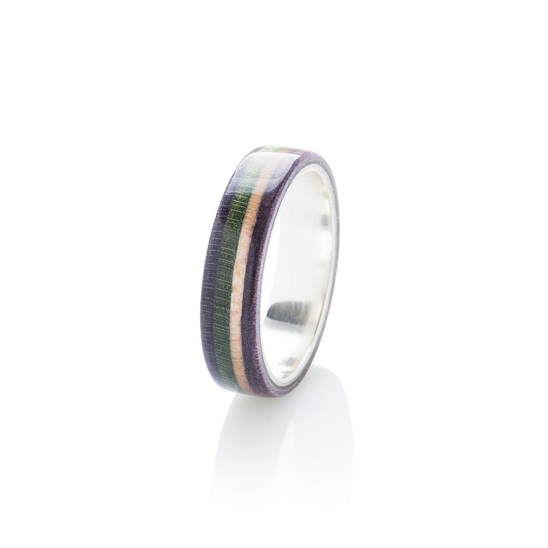 Violet - green - wooden - violet wood & silver skateboard ring - BoardThing