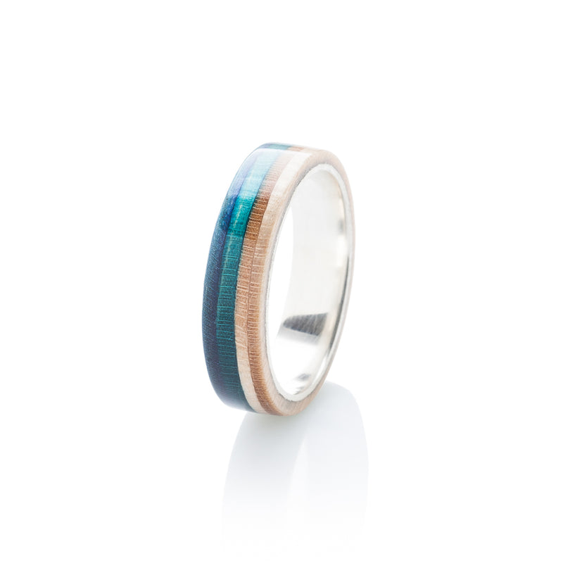 Orange - wooden - blue wood & silver skateboard ring - BoardThing