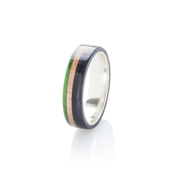 Green - wooden - black wood & silver skateboard ring - BoardThing