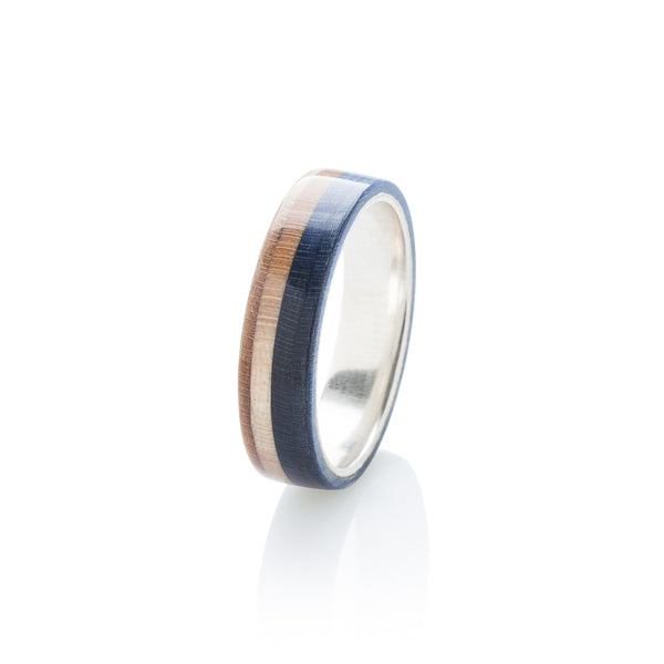 Blue - wooden & silver skateboard ring - BoardThing