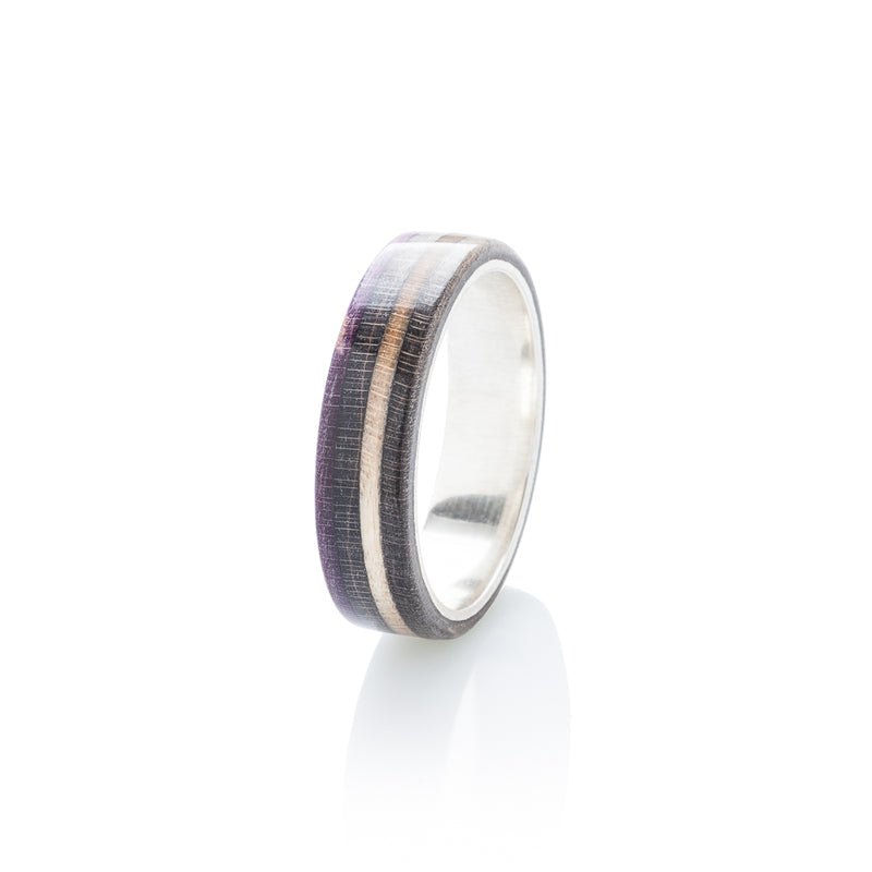 Skateboard ring - wood & silver - black - violet - BoardThing
