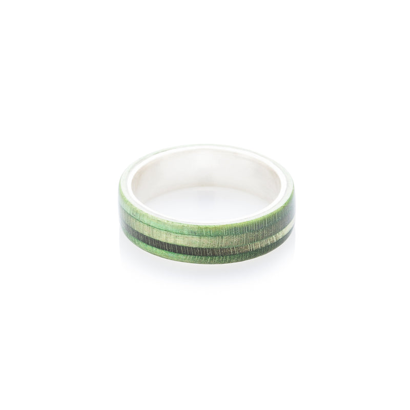 Green wood & silver skateboard ring - BoardThing