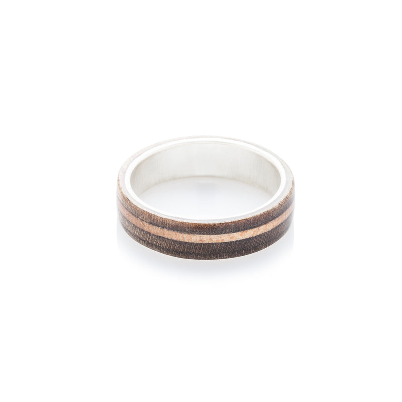 Brown - wooden & silver skateboard ring - BoardThing