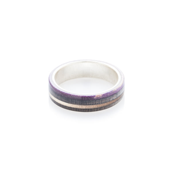 Black - wooden - black - violet wood & silver skateboard ring - BoardThing