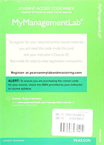 2017 Mylab Management With Pearson Etext --  Access Card -- For Organizational Behavior
