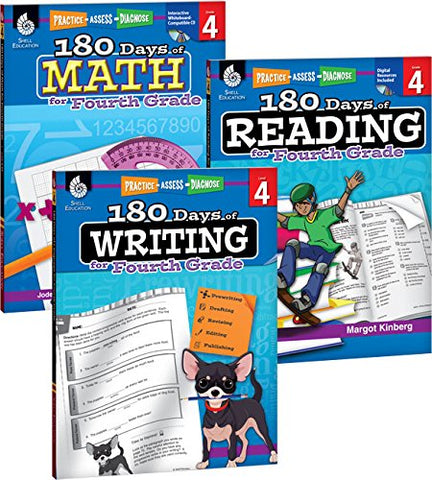 180 Days Of Reading, Writing And Math For Fourth Grade 3-Book Set (180 Days Of Practice)