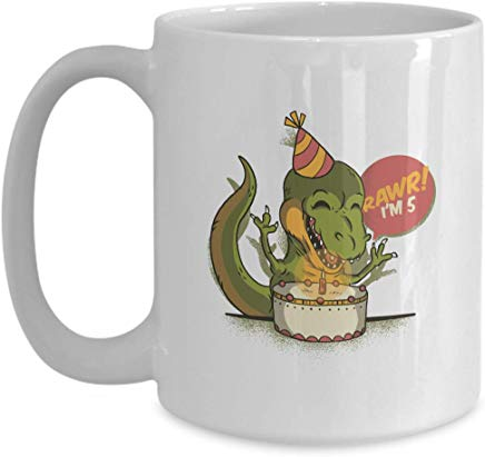 Birthday Coffee Mug 15 Oz - Rawr ! I'M 5