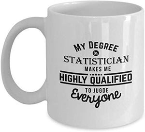 Accountant Present Mug 11 Oz - My Degree In Statistician Makes Me Highly Qualified To Judge Everyone
