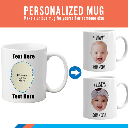 Baby Mug, Personalized with your baby's photo and name, Coffee Mug, Mug for Mom, Mug for Dad, Grandparent Gift, Grandma, Grandpa