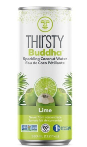 Thirsty Buddah Sparkling Coconut Water with Lime 330ml can