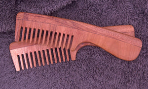 Neem Wood Comb (Wide-toothed with Handle)