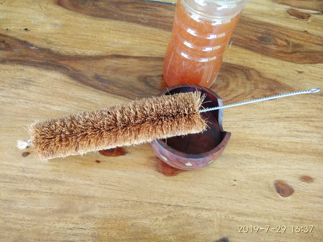 Coir Bristle Bottle Cleaning Brush
