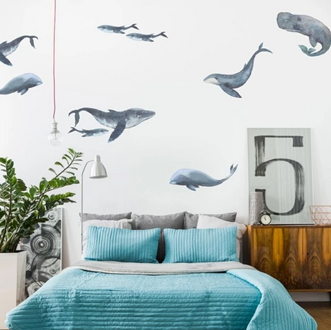 Kids bedroom with whale wall paper