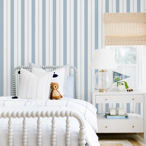 Bedroom blue and white stripe wall