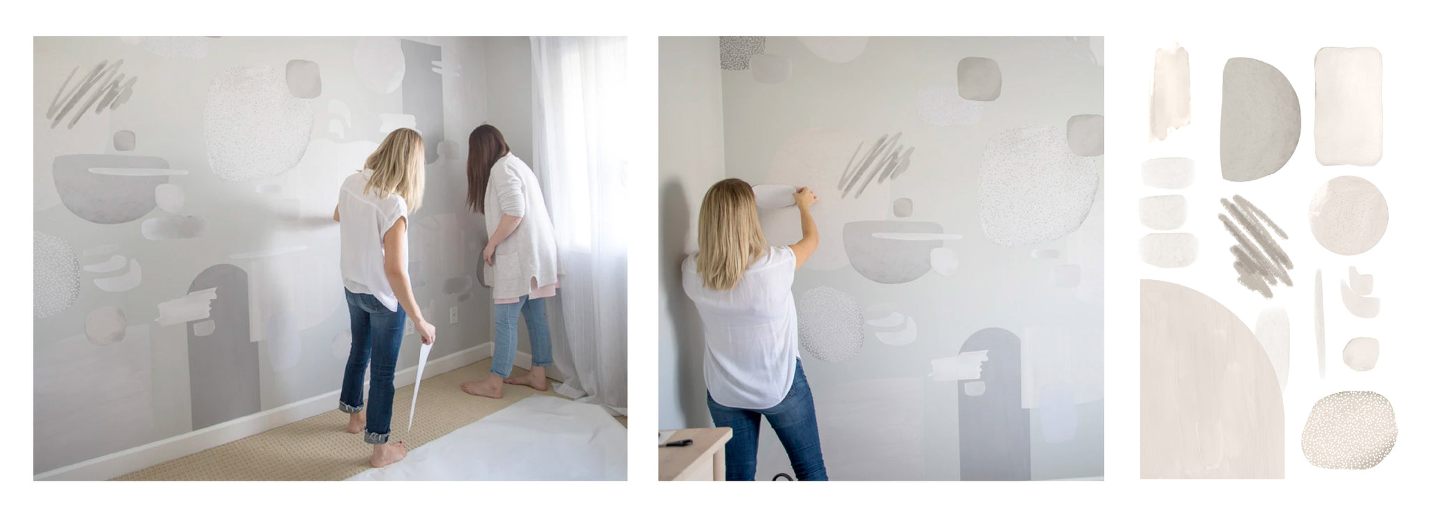 Girls styling wall with warm grey decal