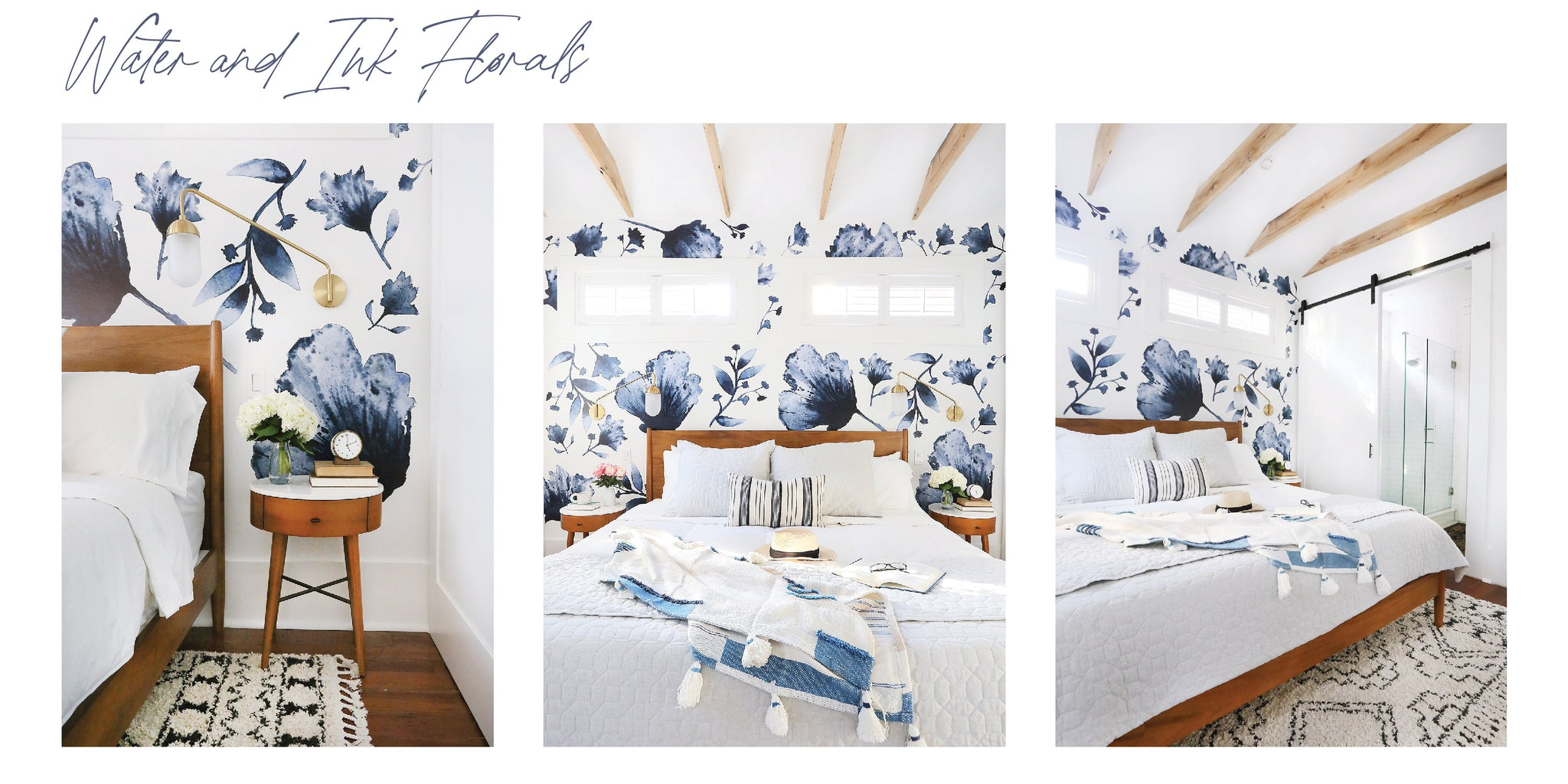 Water and Ink floral decals