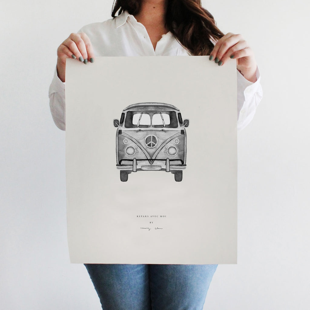 Van Watercolour Wall Art Print