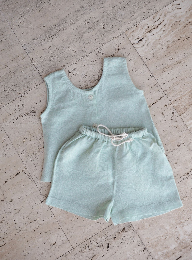 Palm Linen Shorts ~ Mint