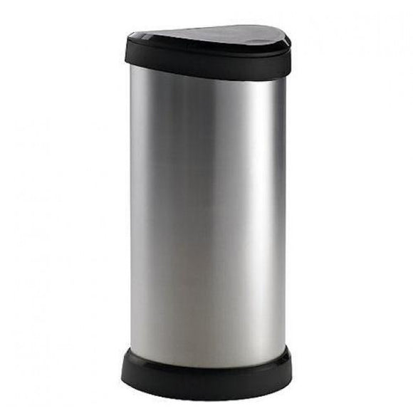 Curver 40ltr Deco One Touch Bin Silver