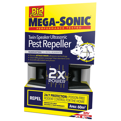Big Cheese Mega-Sonic Twin-Speaker Ultrasonic Pest Repeller