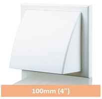 Wall Vent White Cowled Flapped