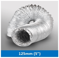 Aluminium Ventilation Hose 125mm X 1.5M