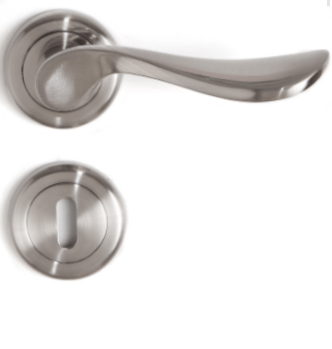 Sonnato Siena Satin Chrome Privacy Lever on Rose Lockset