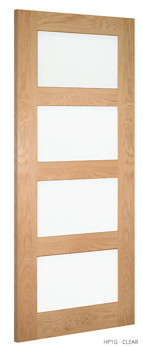 HP1G Clear Glass Oak Door