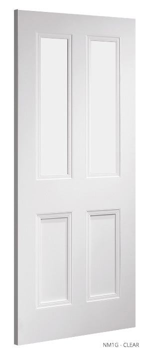NM1 Clear Glass White Primed Door