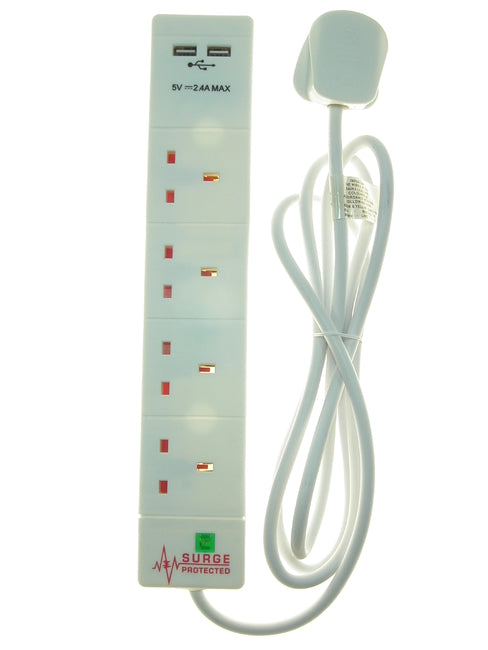 4 Gang & 2 Usb 2 Metre Extension Lead Surge Protected