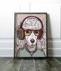 Gift For Kids Room Poodle Poster Hipster Animal