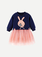 Load image into Gallery viewer, Toddler Girls Mesh Hem Rabbit Patched Dress