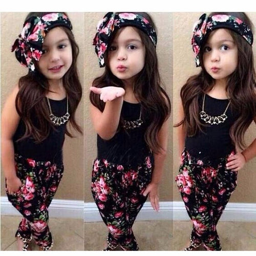 1Set Girls clothes Sleeveless Black Shirt Pants