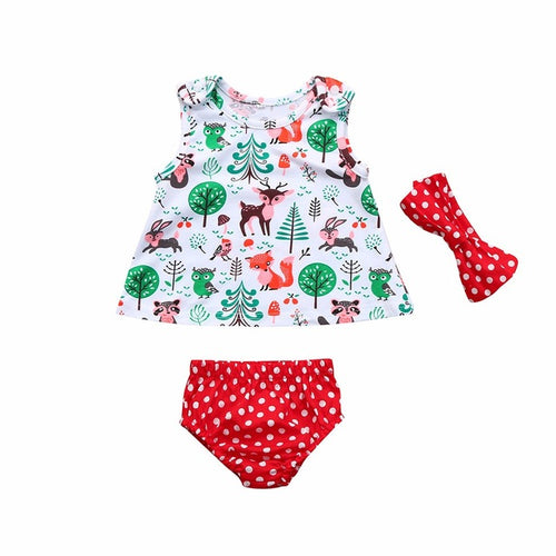 3Pcs Infant Baby Girls dress Cartoon Print Dress