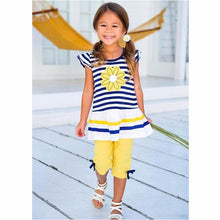 Load image into Gallery viewer, Baby Girl Striped Flower Short Sleeve + Solid
